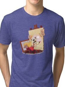 calvin was painting Hobbes Tri-blend T-Shirt