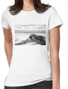 Fallen palm tree in black and white Womens Fitted T-Shirt