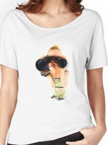 Young blond woman with binoculars  Women's Relaxed Fit T-Shirt
