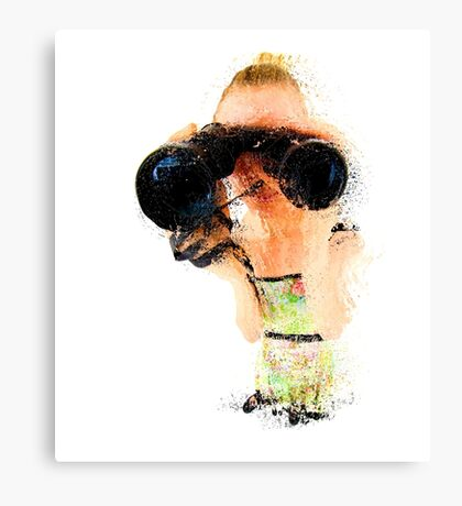 Young blond woman with binoculars  Canvas Print