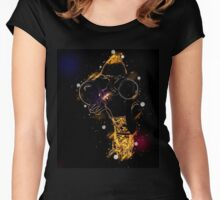Young blond woman with binoculars Women's Fitted Scoop T-Shirt