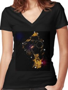 Young blond woman with binoculars Women's Fitted V-Neck T-Shirt