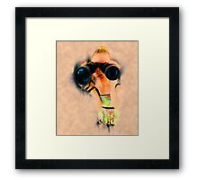 Young blond woman with binoculars Framed Print