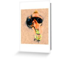 Young blond woman with binoculars Greeting Card