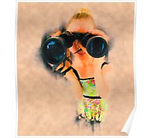 Young blond woman with binoculars Poster