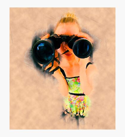 Young blond woman with binoculars Photographic Print