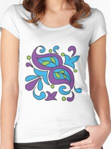 India Paisley Rangoli Pattern  Women's Fitted Scoop T-Shirt