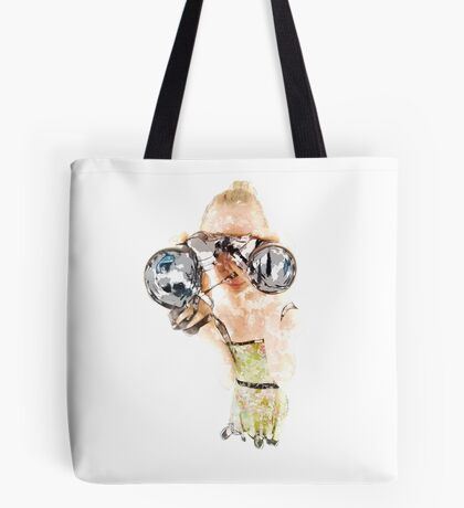 Young blond woman with binoculars  Tote Bag