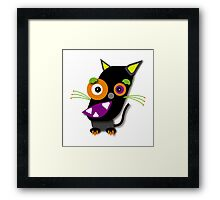 Halloween Black Cat Kawaii Cartoon Framed Print