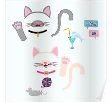 Cat lovers pattern Poster
