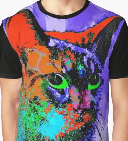 Abstract Cat Graphic T-Shirt