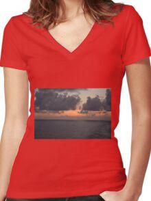 Sun Setting over the Atlantic Women's Fitted V-Neck T-Shirt
