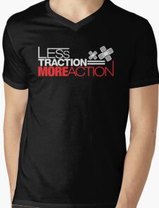 Less traction = More action (1) Mens V-Neck T-Shirt