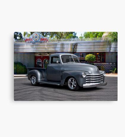 1953 Chevrolet 3100 Custom Pickup 'At Bert's Diner' Canvas Print