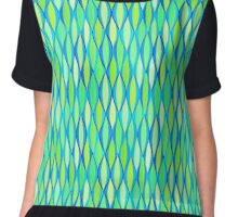 Mid-Century Ribbon Print - turquoise and lime Chiffon Top