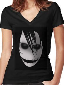 Scary Blurry Face Women's Fitted V-Neck T-Shirt