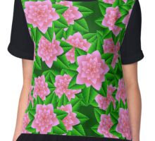 Ice Pink Camellias and Green Leaves Chiffon Top