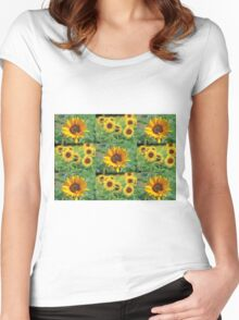 Sunflowers on a Field Women's Fitted Scoop T-Shirt