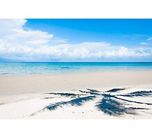 Shadow of palm tree over tropical white sand beach Photographic Print