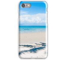 Shadow of palm tree over tropical white sand beach iPhone Case/Skin