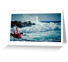 woman sits on a cliff Beach Greeting Card