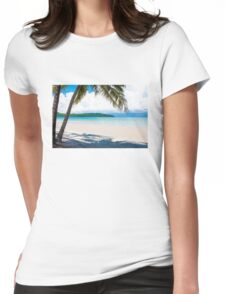 Exotic tropical beach with white sand and blue waters Womens Fitted T-Shirt