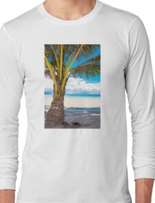 Exotic tropical beach with white sand and blue waters Long Sleeve T-Shirt