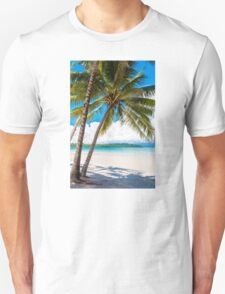 Exotic tropical beach with white sand and blue waters T-Shirt