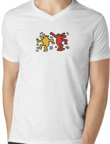 Keith Haring Dancing Dog Mens V-Neck T-Shirt