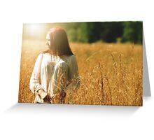 Girl in a wheat field Greeting Card