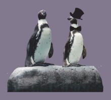 Penguin with a Top Hat with Bow Tie Kids Tee