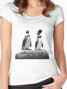 Penguin with a Top Hat with Bow Tie Women's Fitted Scoop T-Shirt