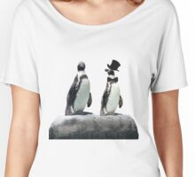 Penguin with a Top Hat with Bow Tie Women's Relaxed Fit T-Shirt