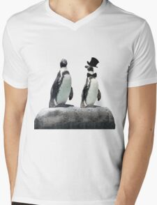Penguin with a Top Hat with Bow Tie Mens V-Neck T-Shirt