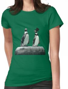 Penguin with a Top Hat with Bow Tie Womens Fitted T-Shirt