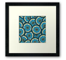 Blue doodle flower pattern.Hand drawn cute seamless background. Framed Print