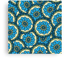 Blue doodle flower pattern.Hand drawn cute seamless background. Canvas Print