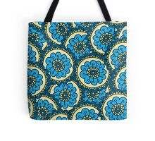 Blue doodle flower pattern.Hand drawn cute seamless background. Tote Bag