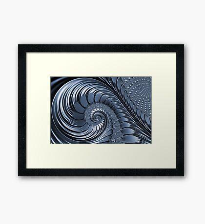 Cyan Scrolls Abstract Framed Print