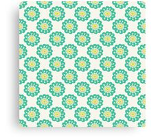 Blue doodle flower simple pattern.Hand drawn cute seamless background. Canvas Print