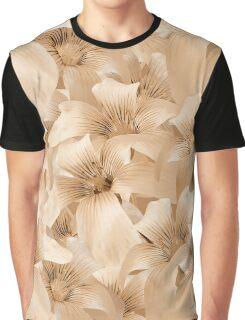 Elegant Floral Pattern in Light Beige Tones Graphic T-Shirt