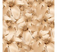 Elegant Floral Pattern in Light Beige Tones Photographic Print