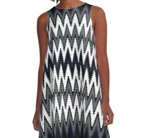 Blue Black & White Chevron Pattern A-Line Dress
