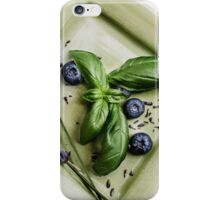 Basil Still Life with Green Plate and Lavender iPhone Case/Skin