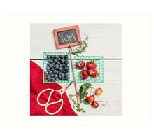 Blueberries, Cherries, Basil Still Life Art Print