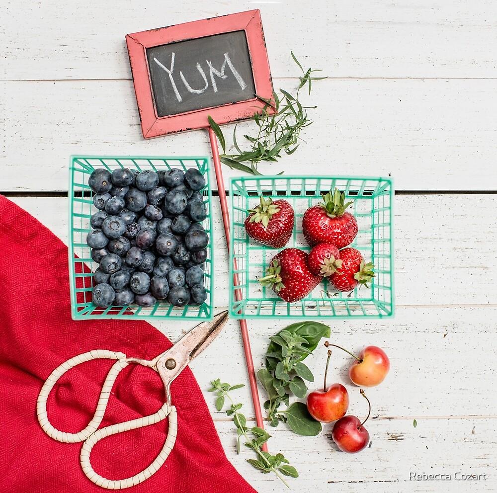 Blueberries, Cherries, Basil Still Life by Rebecca Cozart