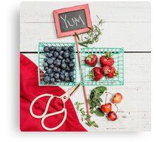 Blueberries, Cherries, Basil Still Life Canvas Print