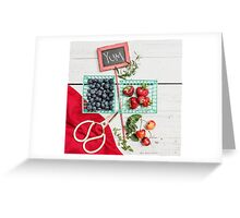 Blueberries, Cherries, Basil Still Life Greeting Card