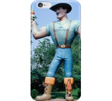 Small Girl standing on the Boot of Mr. Musselman Giant, Fantasyland Gettysburg Pennsylvania iPhone Case/Skin