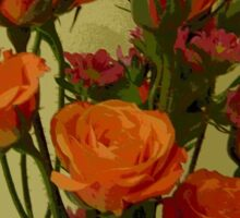 Orange and Red Open Roses Sticker